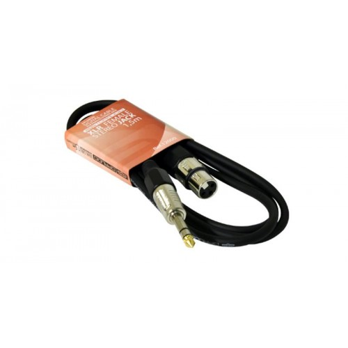 CABLE XLR HEMBRA A JACK 6,3 STEREO JACK 1,5m QP AUDIO